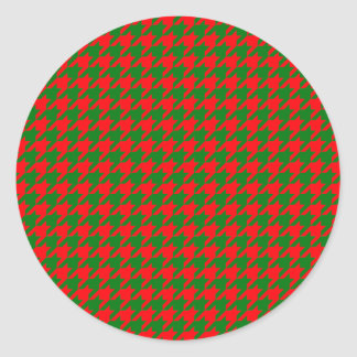 Classic Christmas Red and Green Houndstooth Check Classic Round Sticker
