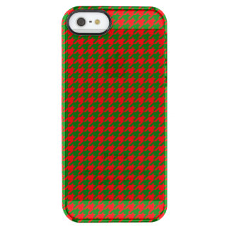 Classic Christmas Red and Green Houndstooth Check Clear iPhone SE/5/5s Case