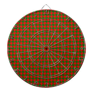 Classic Christmas Red and Green Houndstooth Check Dartboard