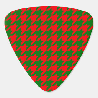 Classic Christmas Red and Green Houndstooth Check Guitar Pick