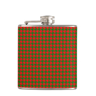 Classic Christmas Red and Green Houndstooth Check Hip Flask