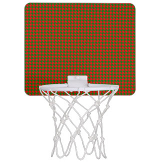Classic Christmas Red and Green Houndstooth Check Mini Basketball Hoop