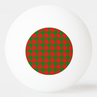 Classic Christmas Red and Green Houndstooth Check Ping Pong Ball