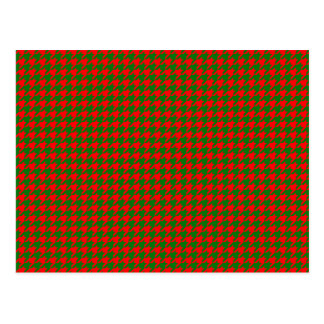 Classic Christmas Red and Green Houndstooth Check Postcard