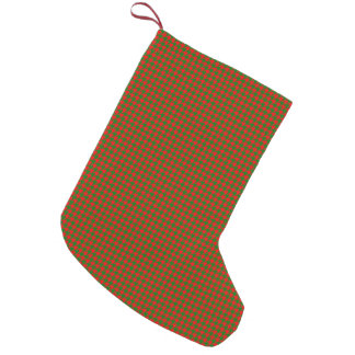 Classic Christmas Red and Green Houndstooth Check Small Christmas Stocking