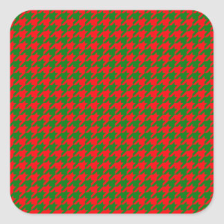 Classic Christmas Red and Green Houndstooth Check Square Sticker