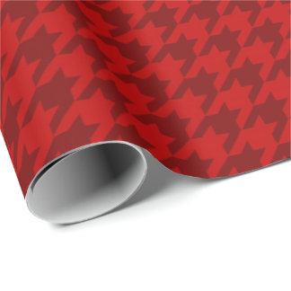 Classic Christmas Wrap Houndstooth Red Burgundy