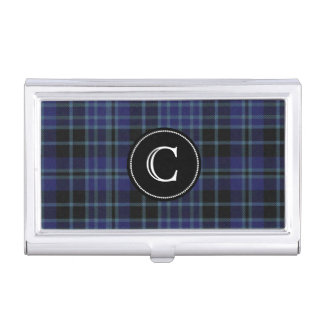 Classic Clan Clark Tartan Plaid Monogram Business Card Holder