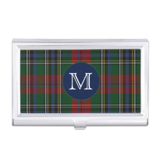 Classic Clan MacLean Tartan Plaid Monogram Business Card Holder
