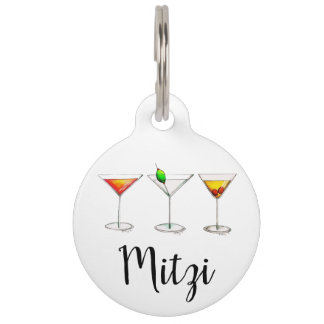 Classic Cocktails Martini Cosmopolitan Manhattan Pet Name Tag