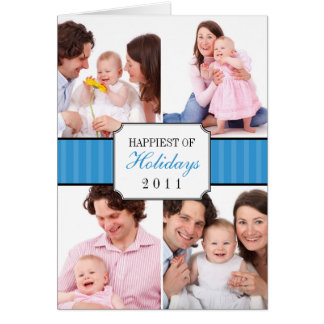 Classic collage blue striped band Christmas photo Greeting Card