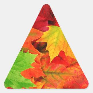 Classic Colored Autumn Fall Leaf Print Triangle Sticker