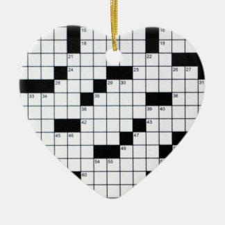 Classic Crossword Grid Ceramic Ornament