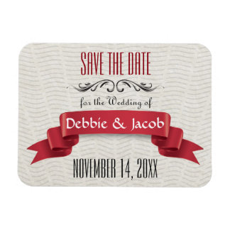 Classic Custom Save the Date Red Banner Magnet
