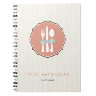 Classic Cutlery Beige Pinstripe Dinner Spiral Note Book