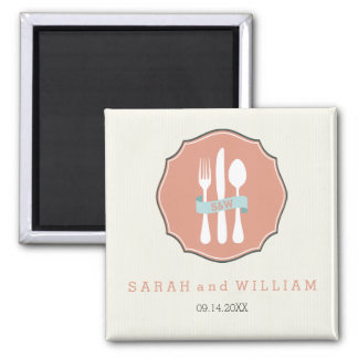 Classic Cutlery Beige Pinstripe Dinner Square Magnet