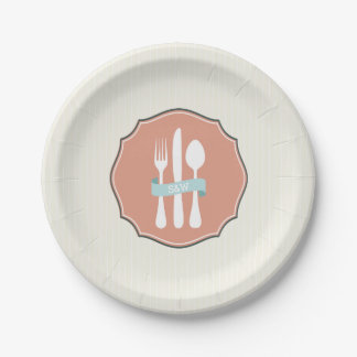 Classic Cutlery Beige Pinstripe Monogram Paper Plate