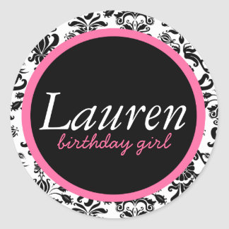 CLASSIC DAMASK [PERSONALIZED] FOR BIRTHDAY GIRL CLASSIC ROUND STICKER