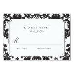 "Classic Damask Wedding RSVP 3.5"" X 5"" Invitation Card"