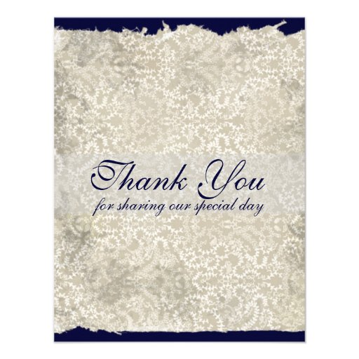 Classic Damask Wedding Thank You Notes, Navy Blue Announcement