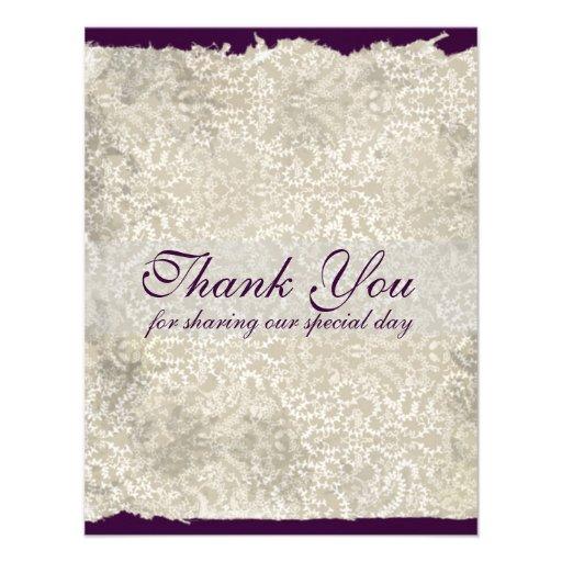 Classic Damask Wedding Thank You Notes, Purple Custom Invite