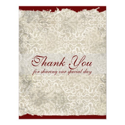 Classic Damask Wedding Thank You Notes, Red Personalized Announcements