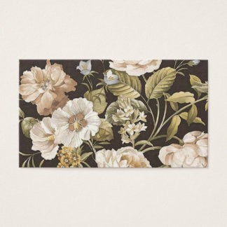 Classic Dark Brown w Cream and Pale Green Floral Business Card