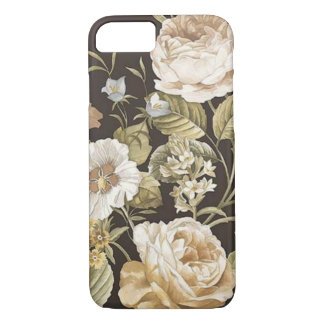 Classic Dark Brown w Cream and Pale Green Floral iPhone 8/7 Case