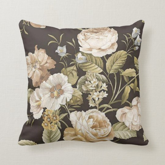 Classic Dark Brown w Cream and Pale Green Floral Throw Pillow