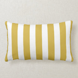 Classic Designer Stripes in Mustard and White Lumbar Pillow