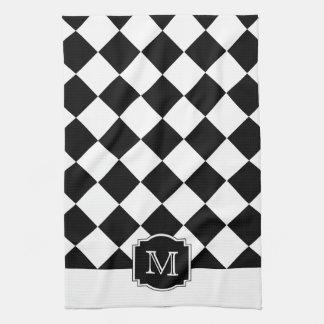 Classic Diamonds Monogram - Black White Kitchen Towel