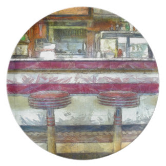 Classic Diner Stools Watercolor Party Plates