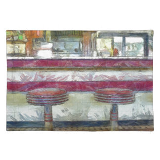 Classic Diner Stools Watercolor Placemat