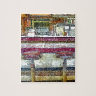 Classic Diner Stools Watercolor Puzzles