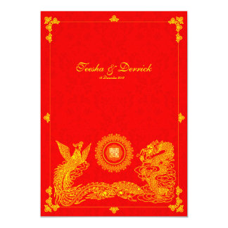 Classic dragon phoenix chinese wedding invitation