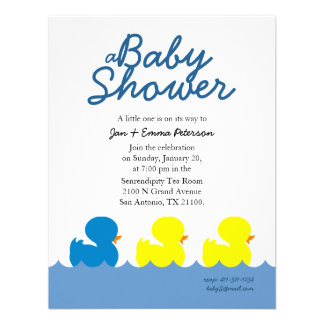 classic ducky custom BOY BABY SHOWER invitation