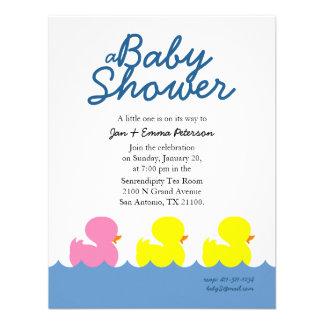classic ducky custom GIRL BABY SHOWER invitation