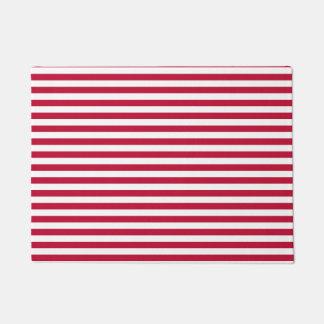 Classic Elegant Red White Stripe Pattern Doormat