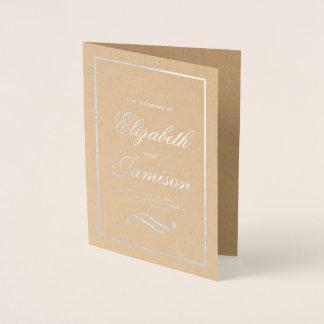 Classic Elegant Silver Foil Kraft Wedding Program Foil Card