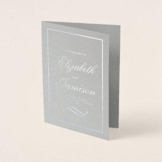 Classic Elegant Silver Foil Wedding Program Foil Card