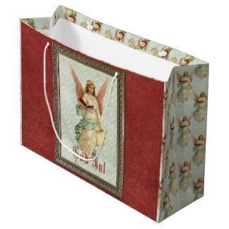 Classic Elegant Victorian Vintage Christmas Angel Large Gift Bag