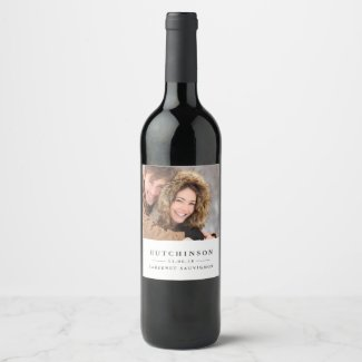 Classic Elegant Wedding Favour Photo Wine Labels