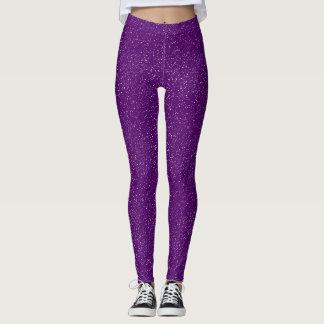 Classic Elegant White Confetti Dots on Purple Leggings
