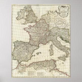 Classic European Map Poster