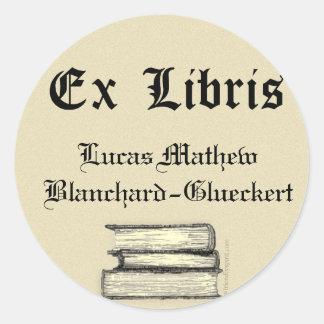 Classic Ex Libris Bookplate Round Sticker