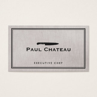 Classic Executive Chef Knife Logo Catering Business Card