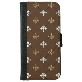 Classic Fashion Fleur-de-lis Brown Pattern iPhone 6 Wallet Case