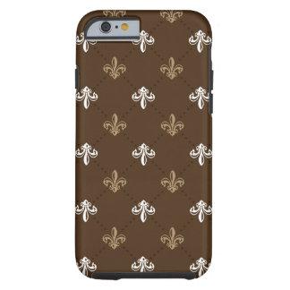 Classic Fashion Fleur-de-lis Brown Pattern Tough iPhone 6 Case