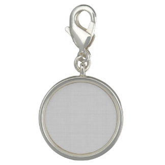 Classic Faux Linen Silver Grey Photo Charm