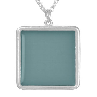Classic Faux Linen Smalt Blue Silver Plated Necklace